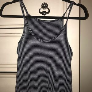 Brandy Melville Tops - Brandy Melville White and navy scoop neck tank